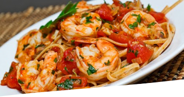 Shrimp Linguine in a Tomato